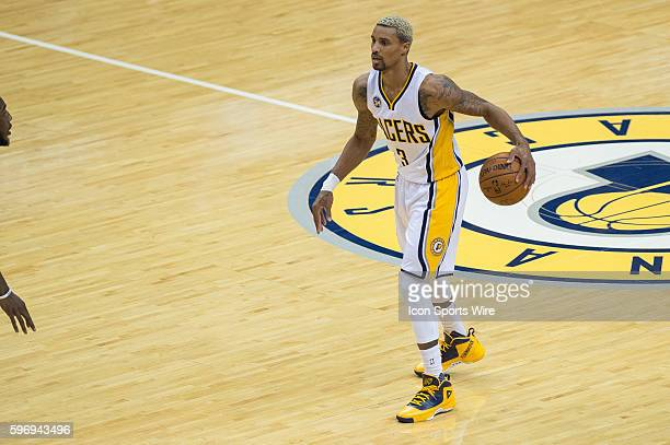 Indiana Pacers guard George Hill during a NBA game between the Indiana Pacers and Boston Celtics at Bankers Life Fieldhouse in Indianapolis IN