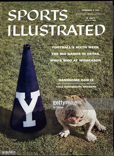 November 5 1956 Sports Illustrated Cover College Football Yale Bulldogs Handsome Dan IX dog animal with cheerleader megaphone equipment before game...