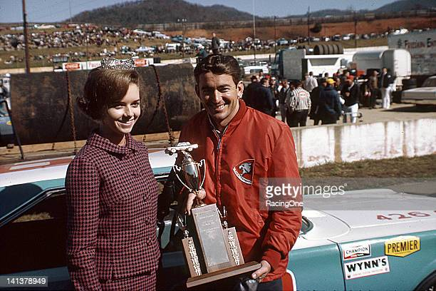 Bobby Allison in victory lane at AshevilleWeaverville Speedway after winning the Western North Carolina 500 NASCAR Cup race the 49th and final Cup...