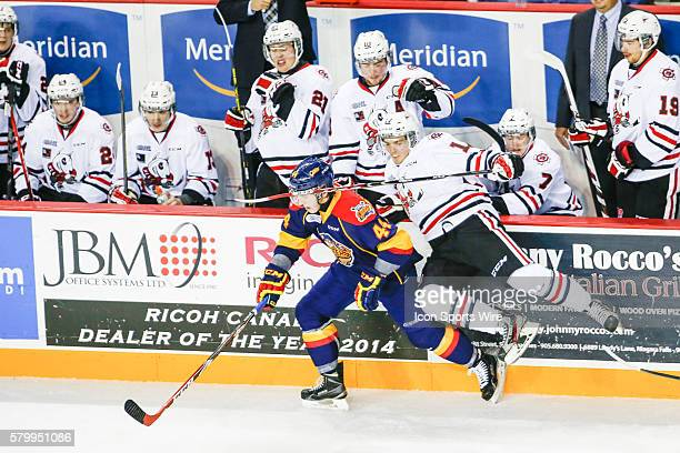 Erie D Travis Dermott avoids check during Niagara's 52 victory at Meridian Center in St Catherine's Ontario