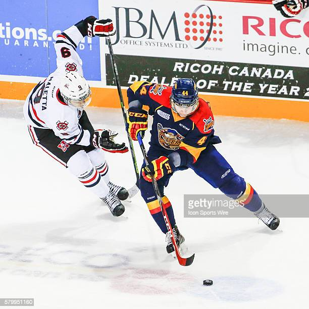 Erie D Travis Dermott stick handles during Niagara's 52 victory at Meridian Center in St Catherine's Ontario
