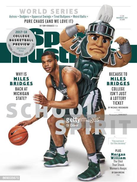 November 6 2017 Sports Illustrated via Getty Images Cover NCAA Season Preview Portrait of Michigan State Miles Bridges posing with mascot Sparty...