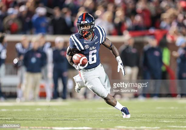 Mississippi Rebels running back Jaylen Walton looks for a big gain during an NCAA football game between the Ole Miss Rebels and the Arkansas...