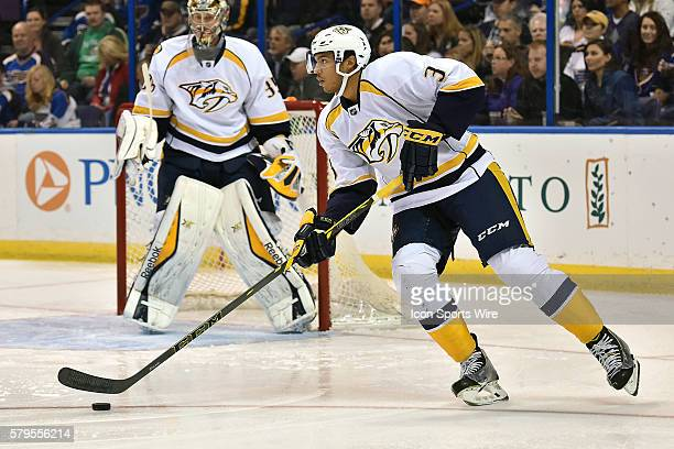 Nashville Predaters' defenseman Seth Jones skates with the puck in the first period during an NHL game between the Nashville Predators and the St...