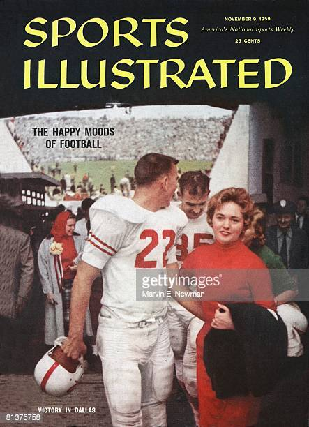 November 9 1959 Sports Illustrated Cover College Football Texas QB Bobby Lackey victorious with wife Judy Lackey after winning game vs Oklahoma...