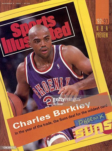 November 9 1992 Sports Illustrated via Getty Images CoverBasketball Phoenix Suns Charles Barkley in action vs Detroit Pistons at The Palace of Auburn...