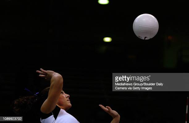 November 9 2005 /BOULDER / Buffaloes' Allie Grffin spikes the ball against the Texas Longhorns during a game between the two teams played at Coors...