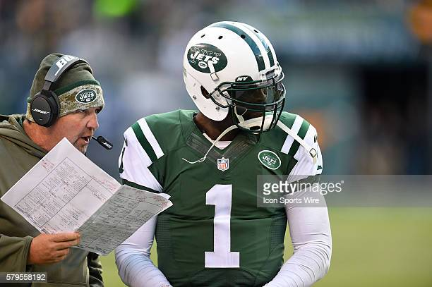 New York Jets offensive coordinator Marty Mornhinweg talks with New York Jets quarterback Michael Vick during the second half of a NFL matchup...