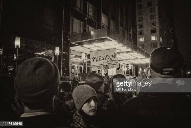 November 9, 2016]: Protest sign that says PRESIDONT in front of TRUMP PLAZA during #METOO rally on November 9, 2016 in New York City.