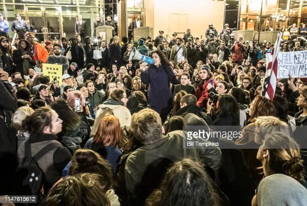 Protestors in front of TRUMP PLAZA on November 9 2016 in New York City
