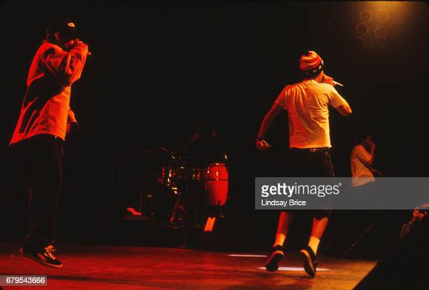 Adam 'MCA' Yauch Mike 'Mike D' Diamond and Adam 'AdRock' Horovitz perform as Beastie Boys at the Universal Amphitheatre on November 24 1992 in Los...