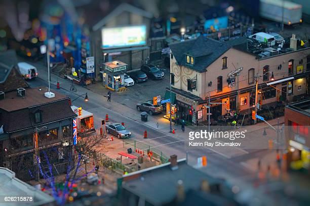 November Blue Hour in Miniature Town