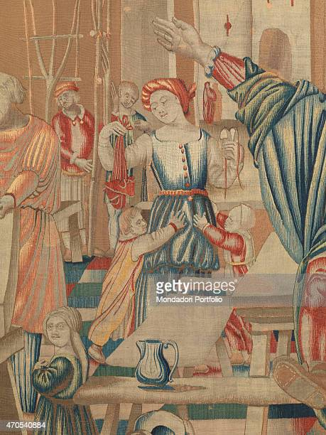 November by Benedetto da Milano upon drawing by Bramantino c 15031508 16th Century tapestry Italy Lombardy Milan Sforza Castle Detail At center stage...