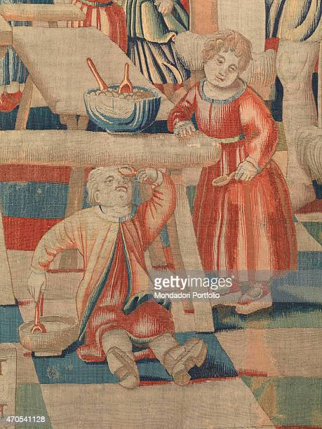 November by Benedetto da Milano upon drawing by Bramantino c 15031508 16th Century tapestry Italy Lombardy Milan Sforza Castle Detail Two children a...