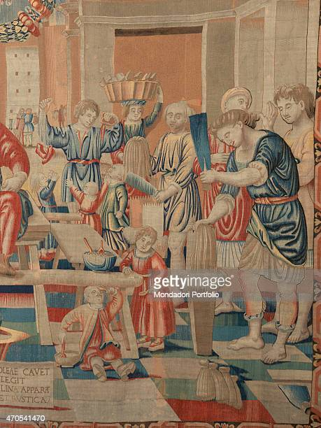 'November by Benedetto da Milano upon drawing by Bramantino c 15031508 16th Century tapestry Italy Lombardy Milan Sforza Castle Detail Some weavers...