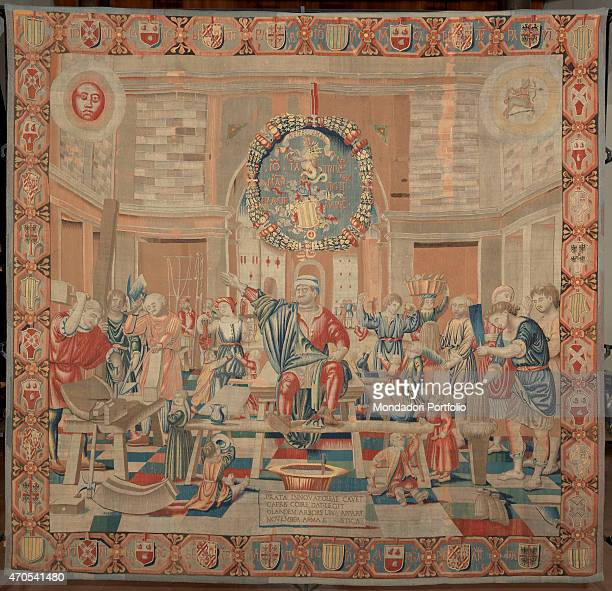 November by Benedetto da Milano upon drawing by Bramantino c 15031508 16th Century tapestry Italy Lombardy Milan Sforza Castle Whole artwork view...