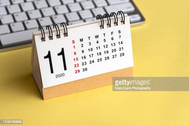 november calendar on yellow background - november stock pictures, royalty-free photos & images