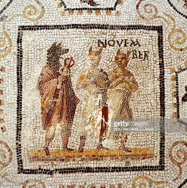 November from the Mosaic of the months from Thysdrus El Djem Tunisia Roman civilisation 3rd century AD Detail Sousse Musée Archéologique