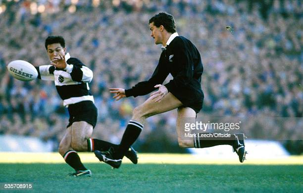 November1989, New Zealand Rugby Union Tour, Barbarians v New Zealand, Terry Wright of New Zealand kicks the ball.