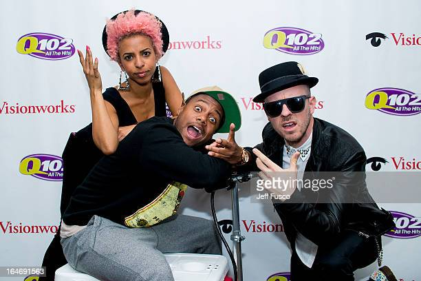 Novena Carmel radio personality Maxwell and Ricky Reed of Wallpaper pose at the Q102 iHeartRadio Performance Theater on March 26 2013 in Bala Cynwyd...