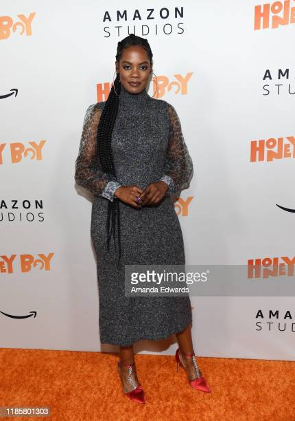 Novi Brown arrives at the premiere of Amazon Studios Honey Boy at The Dome at Arclight Hollywood on November 05 2019 in Hollywood California