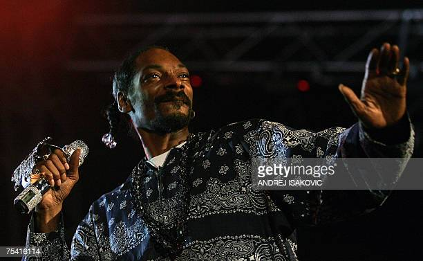 US rapper Snoop Dogg performs on stage during a concert at the Exit music festival in the Serbian town of Novi Sad early hours 15 July 2007 Serbia's...