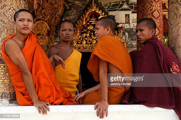 Novice Buddhist monks come to lodge in the town's temples whilst learning the life of a monk such as here at Wat Paphai