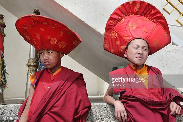Novice Buddhist monks dressed in ceremonial attire during the Mask Dance Festival at the Lamayuru Monastery in Lamayuru Ladakh Jammu and Kashmir...
