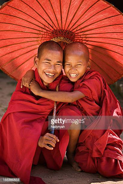 novice buddhist monks, myanmar - myanmar culture stock pictures, royalty-free photos & images