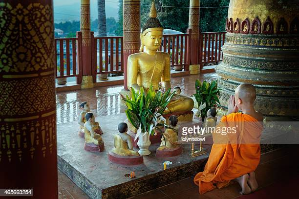 Novice Monk Praying At The End Of The Day