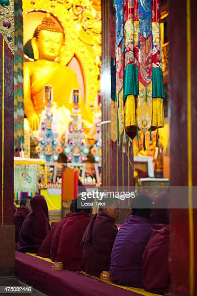 Novice monks attend puja at the Tawang Monastery in Tawang, a former Tibetan Kingdom that was signed over to British- run India by way of the Simla...