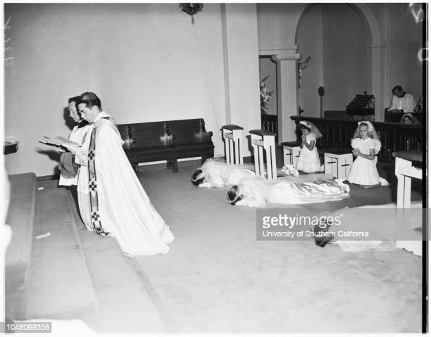 Novice nuns 18 August 1951 Margaret Mulrooney Juanita Quigley Evelyn Schwalenberg Ann Ryan 7 yearsBishop Timothy ManningJudy LasherReverend Paul V...