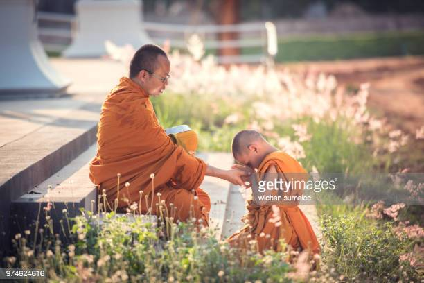 novice pay to monks - showing respect stock pictures, royalty-free photos & images