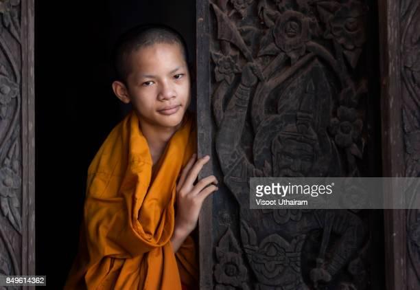 Novices monk at temple .Luang Prabang