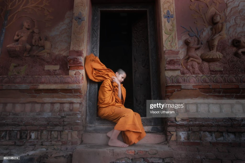 Novices monk at temple .Luang Prabang,Laos. : Stock-Foto