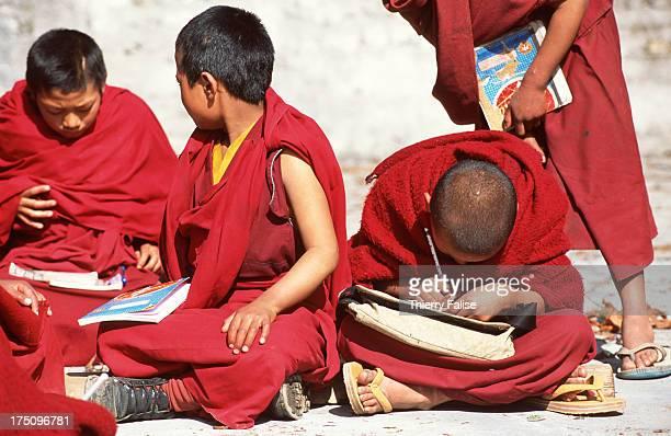 Novices study at the Tawang monastery