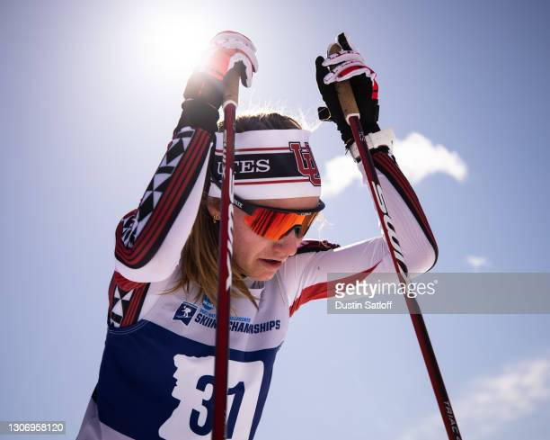 Novie McCabe of the University of Utah in the finish area after the women's 15km freestyle at the NCAA Skiing Championships on March 13, 2021 in...