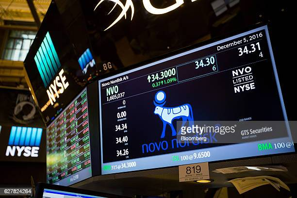 Novo Nordisk A/S signage is displayed on a monitor on the floor of the New York Stock Exchange in New York US on Monday Dec 5 2016 US stocks climbed...