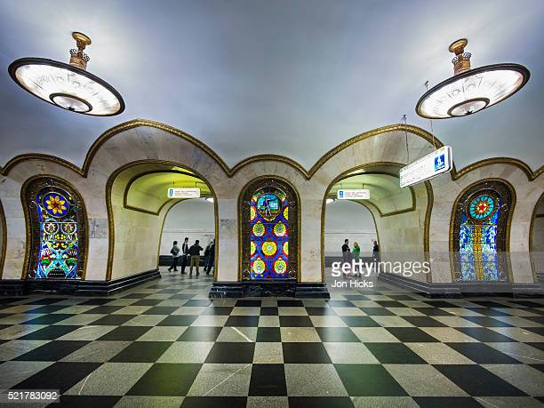 novoslobodskaya metro station. - moscow russia stock pictures, royalty-free photos & images