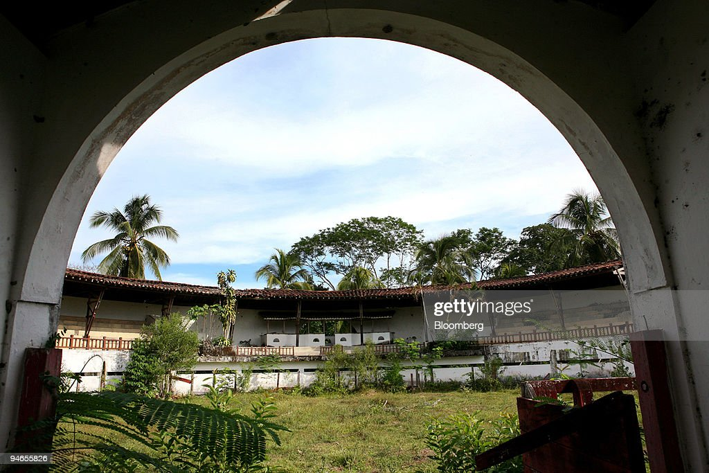A now abandoned bull ring lies at Hacienda Napoles, the favored recreation home of the late infamous drug lord Pablo Escobar near Puerto Triunfo, Colombia, Thursday, July 20, 2006. Abandoned 13 years ago when Escobar, who ran a $20 billion global drugs business, was killed by a special task force, the Spanish-style Hacienda Napoles has been ransacked and left in ruins by treasure hunters seeking millions of dollars worth of cocaine loot many believe is buried on the property.