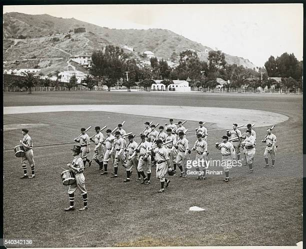 Now at Catalina Island for their period of winter training the Chicago Cubs hold the first practice of the season Escorted by the Catalina Post of...