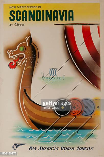 Now Direct Service to Scandinavia by Clipper Pan American World Airways travel poster illustrated by Jean Carlu 1954 Stylized Viking ship