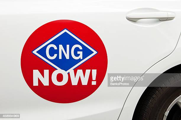 CNG Now! Door Sticker on Compressed Natural Gas Powered Car