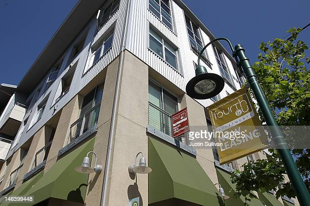 """Now leasing"""" sign is posted in front of the Fourth and U apartments on June 15, 2012 in Berkeley, California. According to a report by Harvard..."""
