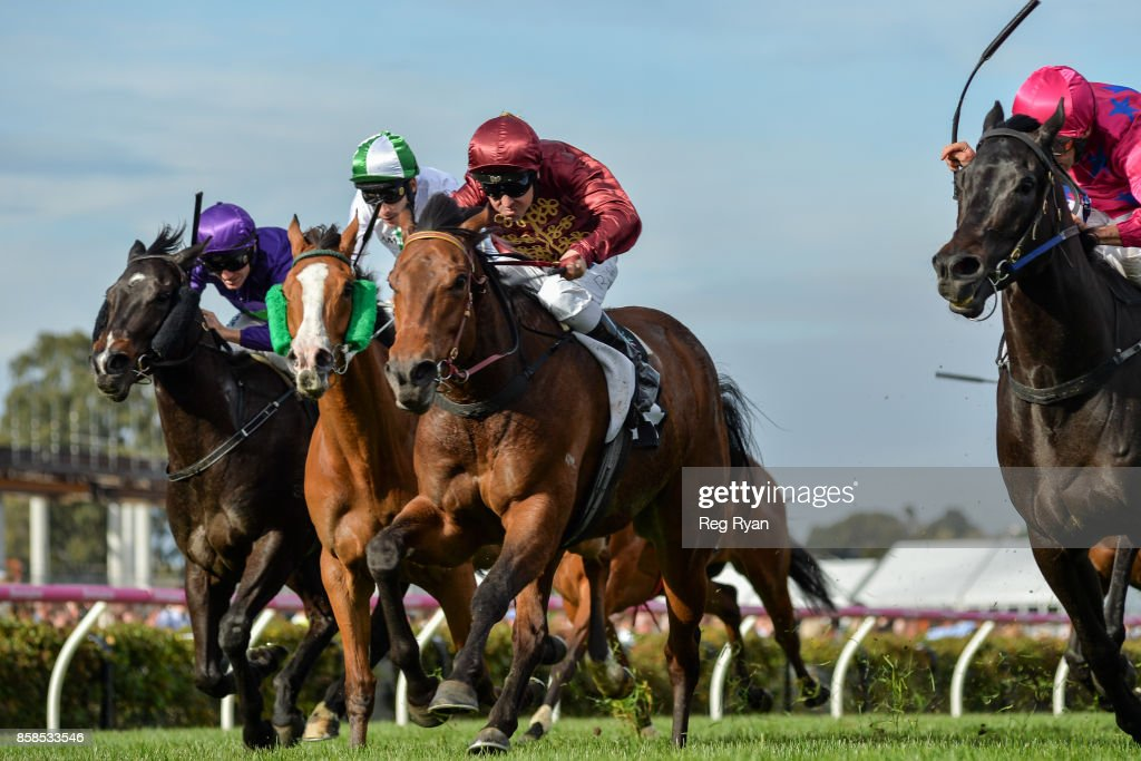 Now Or Later (IRE) ridden by Ryan Maloney wins the Blazer Stakes at Flemington Racecourse on October 07, 2017 in Flemington, Australia.