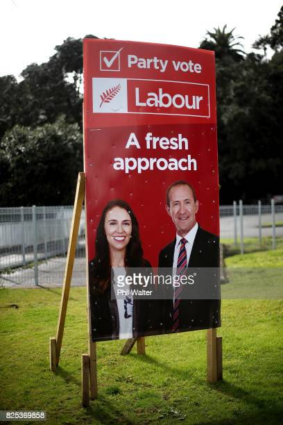 A now outdated Labour election billboard is pictured on August 2 2017 in Auckland New Zealand Jacinda Ardern was elected unopposed as new Labour...