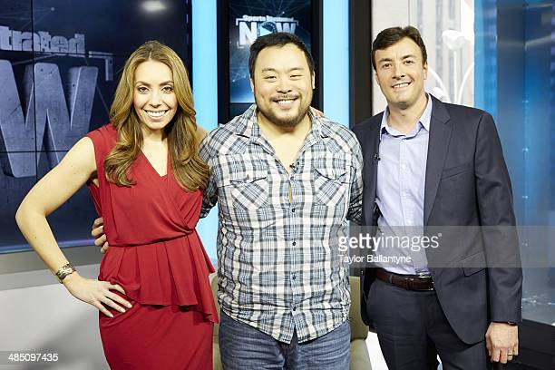 Portrait of Sports Illustrated Video anchor and host of live show Maggie Gray celebrity chef and restaurateur David Chang and SI assistant managing...