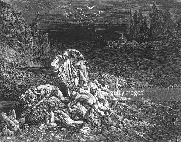 'Now seest thou son The souls of those whom anger overcame' Virgil leads the author past souls writing in torment in the River Styx An engraving by...