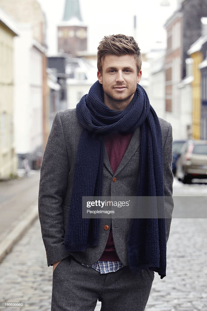 Now that is some stylish Winter attire... : Stock Photo