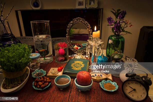 nowruz table design (persian new year) - nowruz stock pictures, royalty-free photos & images